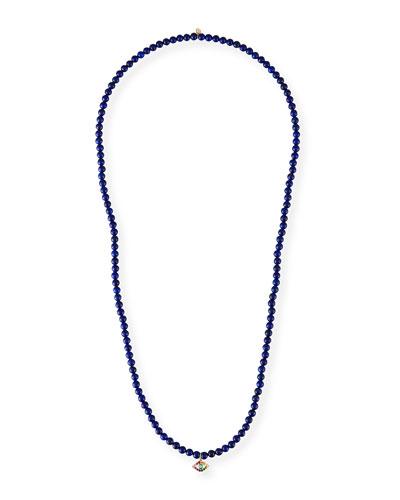 14k Large Evil Eye & Lapis Necklace