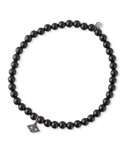 14k Black Diamond Evil Eye & Black Onyx Bracelet