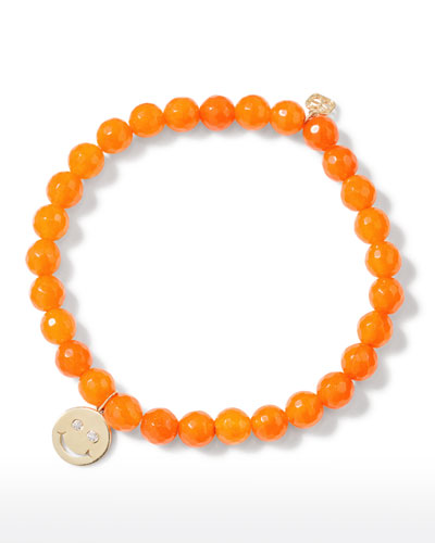 14k Diamond Happy Face & Orange Agate Bracelet