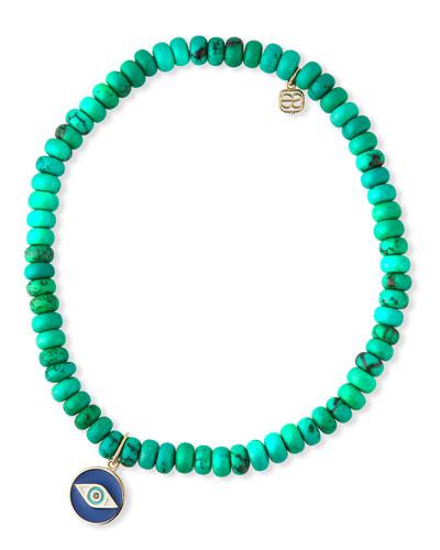 14k Enamel Evil Eye & Green Turquoise Bracelet