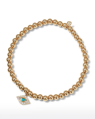 14k Large Diamond & Turquoise Evil Eye Bracelet