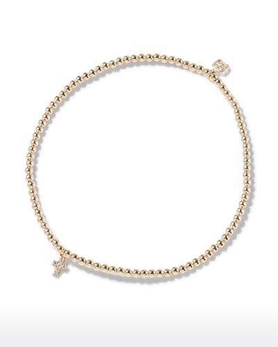 14k Yellow Gold Diamond Cross Bracelet