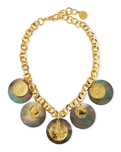Coin & Mother-of-Pearl Statement Necklace