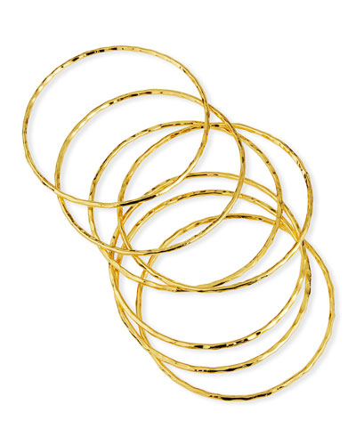 Hammered Gold Set of Skinny Bangles