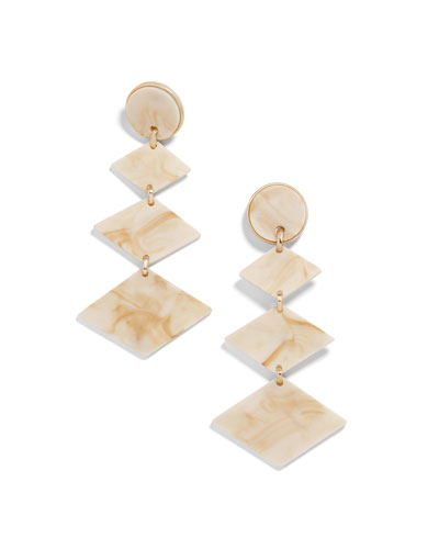 Shanti Resin Drop Earrings, Off-White