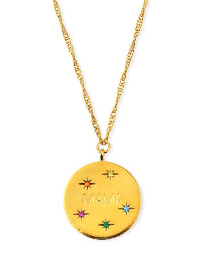 MAMA Coin Pendant Necklace w/ Cubic Zirconia