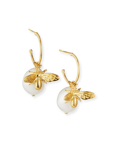 Pearl & Bee Hoop-Drop Earrings