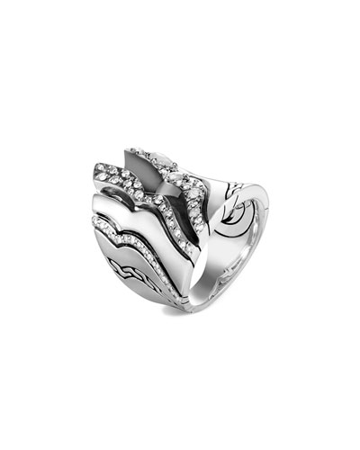 Lahar Diamond Saddle Ring, Size 6-8