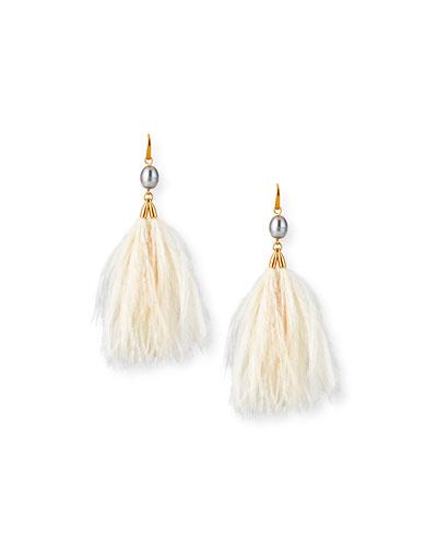 Pearl & Feather Tassel Earrings