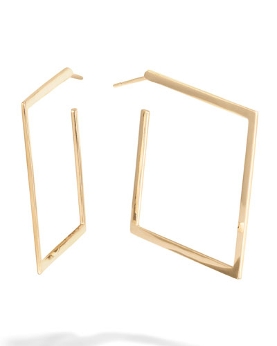 30mm Square Flat 14k Gold Hoop Earrings