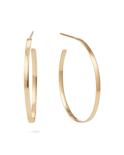 14k Gold 30mm Flat Mega Oval Hoop Earrings