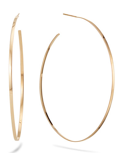 14k Gold Flat Mega Oval Hoop Earrings