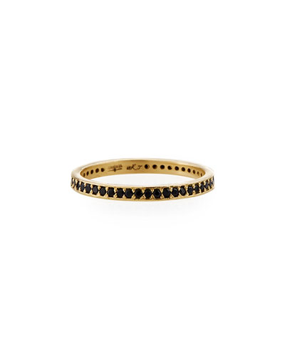 Old World 18k Black Sapphire Eternity Band Ring, Size 6.5