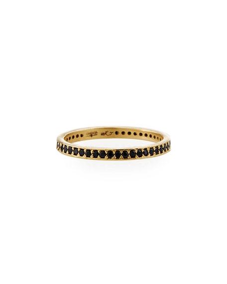 Armenta Old World 18k Black Sapphire Eternity Band Ring, Size 6.5