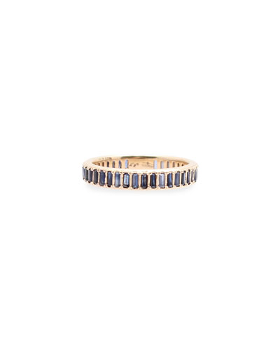 New World 14k Rose Gold Blue Sapphire Baguette Band Ring, Size 6.5