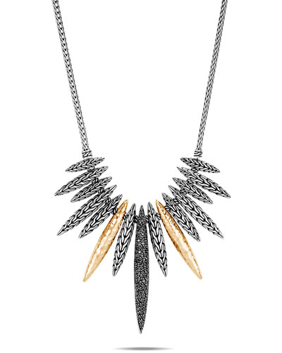Classic Chain Mixed-Spear Necklace w/ 18k Gold & Black Spinel