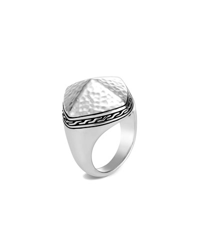 Classic Chain Hammered Ring, Size 6-8