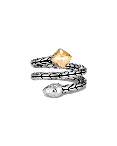 Classic Chain Hammered Coil Ring w/ 18k Gold, Size 6-8