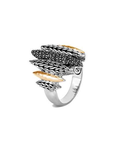 Classic Chain Mixed-Spear Ring w/ 18k Gold & Black Spinel, Size 6-8