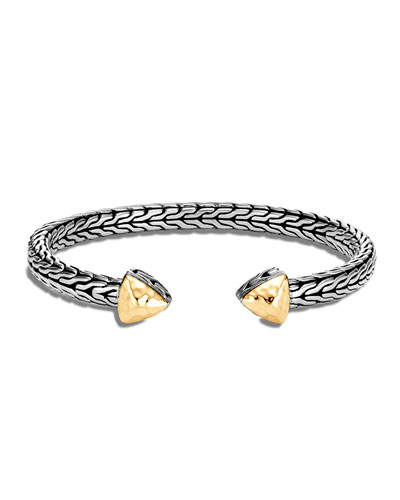 Classic Chain Hammered Cuff Bracelet w/ 18k Gold, Size S/M
