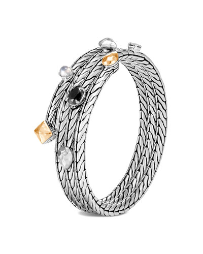 Classic Chain Stone Cluster Coil Bracelet w/ 18k Gold, Size S/M