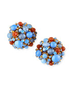 Jose & Maria Barrera Opalescent Button Clip Earrings