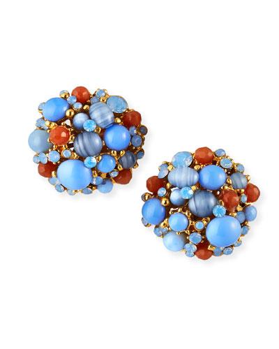 Opalescent Button Clip Earrings