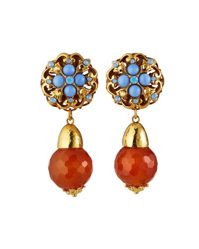 Orange Red Gemstone Short Rust Earrings Carnelian Agate Earrings Faceted Round Dangle Sterling Silver Drop