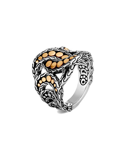 Dot Interlocking Ring w/ 18k Gold, Size 6-8