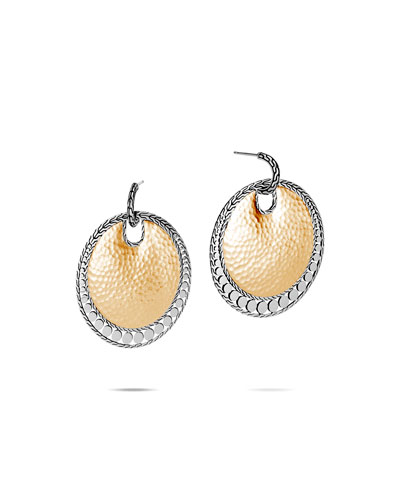 Dot Hammered Round Earrings w/ 18k Gold