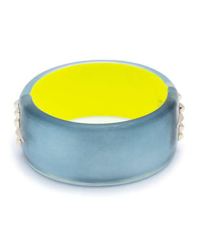 Large Studded Hinge Bracelet, Blue