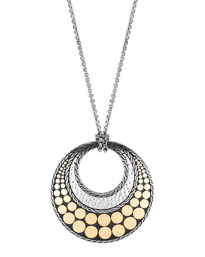 Dot Hammered Pendant Necklace w/ 18k Gold