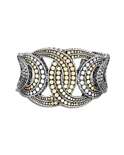 Dot Interlocking Cuff Bracelet w/ 18k Gold, Size S-M