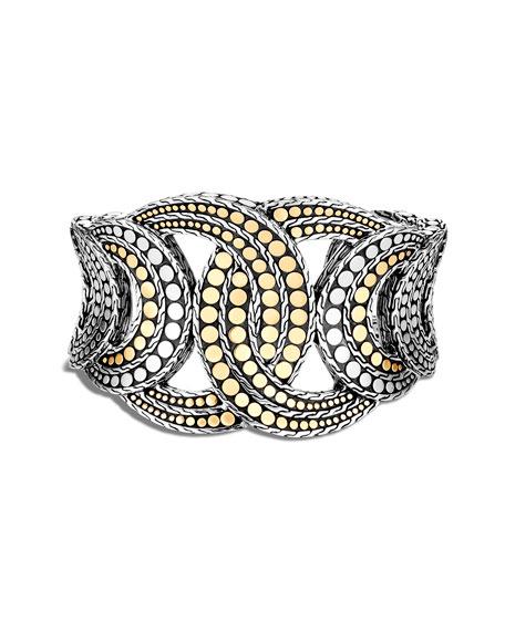 John Hardy Dot Interlocking Cuff Bracelet w/ 18k Gold, Size S-M