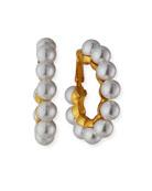 Kenneth Jay Lane Cultura Glass-Pearl Hoop Clip Earrings