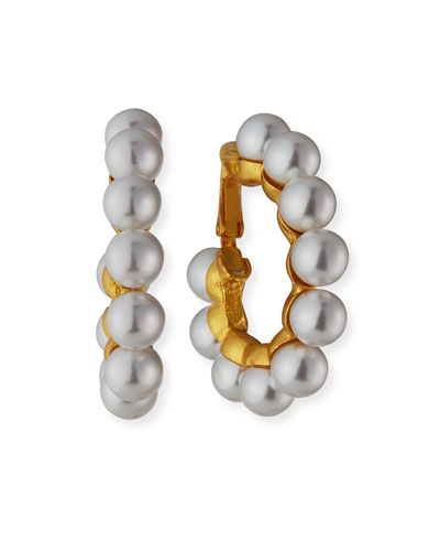 Cultura Glass-Pearl Hoop Clip Earrings