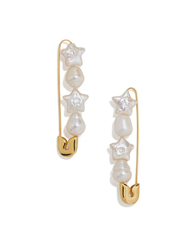 Charisse Pearl Safety-Pin Earrings