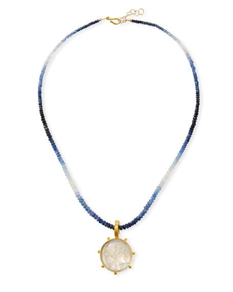 "Dina Mackney Sapphire Necklace w/ Italian Murano ""Apollo"" Pendant"