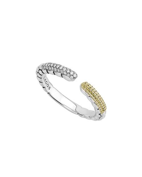 Lagos Caviar Lux Split Ring w/ Diamonds, Size 7