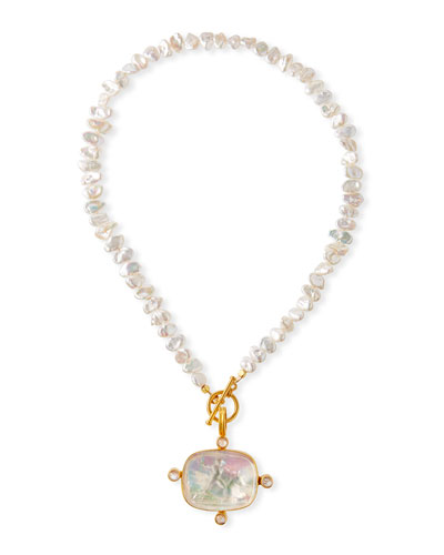 Pearl, Moonstone & Italian Glass Necklace