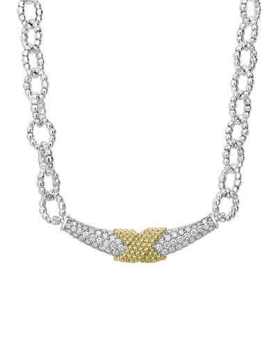 Caviar Lux Diamond X-Wrap Chain Necklace w/ 18k Gold