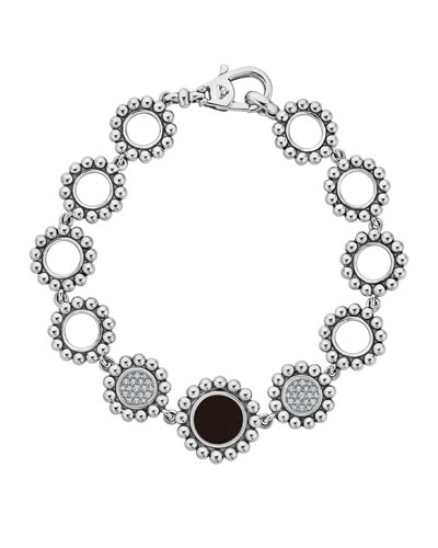 Maya Black Onyx & Diamond Circle-Link Bracelet