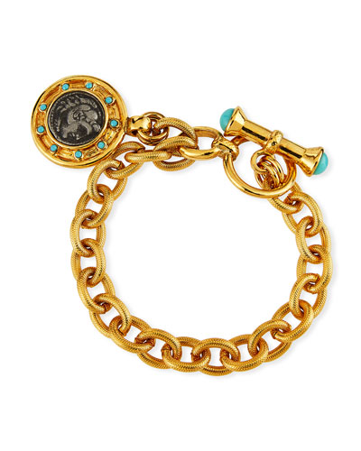 Coin Toggle Bracelet w/ Crystals