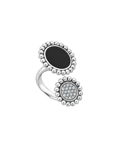 Maya Onyx/Diamond Two-Circle Ring, Size 7