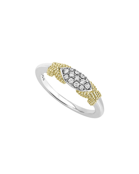 Lagos Caviar Lux Double-X Ring w/ Diamonds, Size 6-8