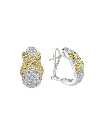 Caviar Lux X-Wrap Earrings w/ Diamonds
