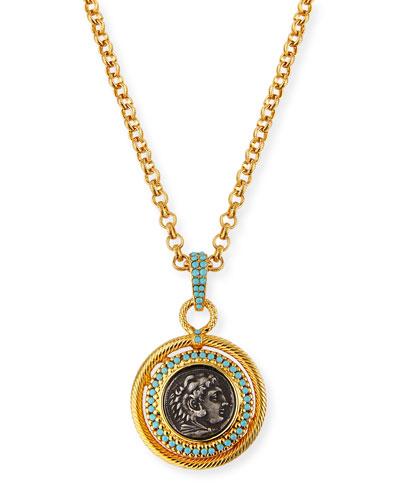 Long Coin Pendant Necklace