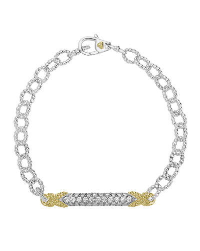 Caviar Lux Diamond Double-X Chain Bracelet w/ 18k Gold