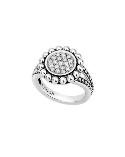 Caviar Spark 16mm Diamond Ring, Size 7