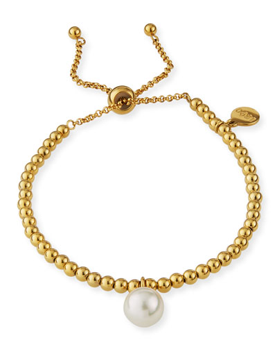 Adjustable Pearl-Drop Bracelet, White